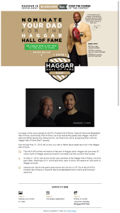 Haggar – Hall Of Fame Dads Contest Sweepstakes