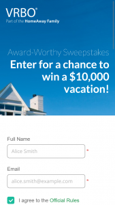 HOMEAWAYCOM – VRBO AWARD WORTHY – Win prize consisting of up to $5000 credit toward one VRBOcom property rental and a $5000 check