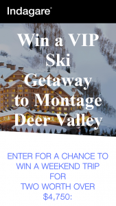 INDAGARE – MONTAGE DEER VALLEY Sweepstakes