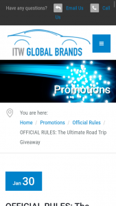 ITW GLOBAL BRANDS – ULTIMATE ROAD TRIP GIVEAWAY – Win be awarded one (1) $2500 Visa gift card