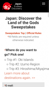 JAPAN NATIONAL TOURISM – JAPAN DISCOVER THE LAND OF THE GODS Sweepstakes