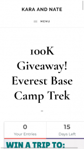 KARA AND NATE – 100K GIVEAWAY EVEREST BASE CAMP TREK – Win a trip for 2 to trek to Everest Base Camp with iTrek Nepal