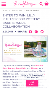 LILLY PULITZER –  FOR POTTERY BARN BRANDS – Win the following prizes  $2000 Lilly Pulitzer shopping spree on Lilly Pulitzer's website