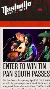 NASHVILLE'S CONVENTION & VISITORS CORP – TIN PAN SOUTH SONGWRITERS FESTIVAL GIVEAWAY Sweepstakes
