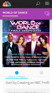 Nbc – World Of Dance Finale – Win will consist of the following one trip for Winner and one guest to Los Angeles CA to experience the World of Dance Finale – Live Taping
