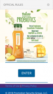 PEPSI-COLA – TROPICANA PROBIOTIC – Win (50) $100 Spafinder Gift Cards