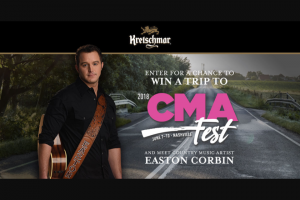 SMITHFIELD – KRETSCHMAR COUNTRY 2018 CMA FEST – Win a trip for two (2) to Nashville