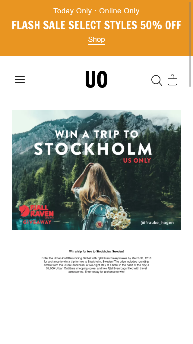 URBAN OUTFITTERS – GOING GLOBAL FJALLRAVEN Sweepstakes