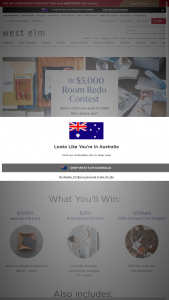 WEST ELM – $5000 ROOM REDO CONTEST – Win one (1) $5000 west elm gift card