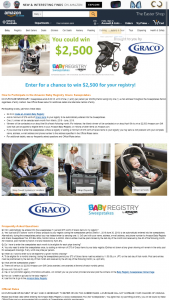 "AMAZON – BABY REGISTRY & GRACO – Win of a $2500.00 Amazoncom Gift Card (""GC"")."