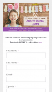 Annie's – Bunny Party – Win assorted selection of products from Annie's along with bunny-themed party supplies such as plates cups straws ears confetti wall decor…etc ARV of each Prize is $200.