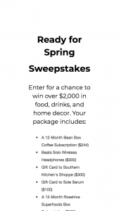 BEAN BOX – READY FOR SPRING – Win value of $2000) Win over $2000 in food drinks and home decor