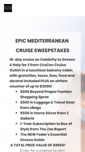 BEYOND PROPER BY BOSTON PROPER – EPIC MEDITERRANEAN CRUISE Sweepstakes