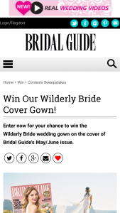 Bridal Guide – Wilderly Bride Cover Gown – Win one Adele dress by Wilderly Bride or any gown from Wilderly Bride up to a value of $1200.