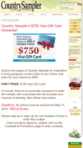 COUNTRY SAMPLER – $750 VISA GIFT CARD GIVEAWAY – Win a $50 Visa Gift Card