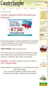COUNTRY SAMPLER – $750 VISA GIFT CARD GIVEAWAY – Win a $50 Visa Gift Card