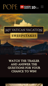 "GRACE HILL MEDIA – MY VATICAN VACATION – Win Rome Italy (""Grand Prize"") for the Winner and one (1) guest"