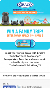GRACO – TURBOBOOSTER TAKEALONG SPRING BREAK Sweepstakes