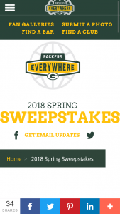 GREEN BAY PACKERS – 2018 SPRING – Win a $500 Packers Pro Shop gift card and a Packers Jacket and Folding Umbrella