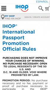 IHOP – INTERNATIONAL PASSPORT PROMOTION – Win Breakfast for a Year awarded in the form of (78) $50 IHOP gift card