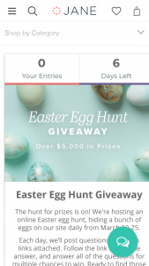 JANECOM – EASTER EGG HUNT GIVEAWAY Sweepstakes
