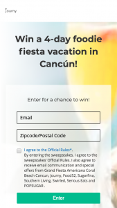 JOURNY – GRAND FOODIE FIESTA TRIP TO CANCUN Sweepstakes