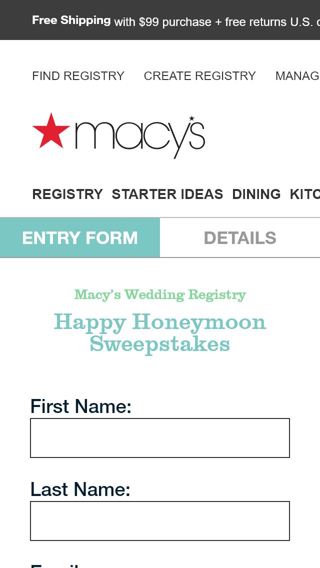 Macy Wedding Registry.Macy S Wedding Registry Happy Honeymoon Win Aggr