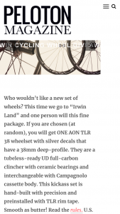 Peloton – Irwin Cycling – Win one complete IRWIN CYCLING AON TLR 38 CARBON wheelset $1600 estimated US retail value