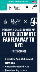 PERRY ELLIS – ORIGINAL PENGUIN AJR ULTIMATE FAN FLYAWAY – Win a trip for two (2) to New York City to attend the AJR concert