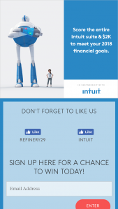 Refinery29 – Intuit – Win American Express gift card in the amount of $2000 and one Intuit Suite of products including QuickBooks SelfEmployed TurboTax and Mint