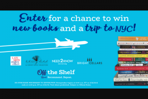 "SIMON & SCHUSTER – OFF THE SHELF MARCH 2018 – Win 14 books (APPROXIMATE RETAIL VALUE ""ARV"" $270) $500 toward roundtrip airfare to New York"