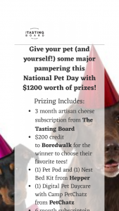 TASTING BOARD EXPERIENCE – NATIONAL PET DAY GIVEAWAY Sweepstakes