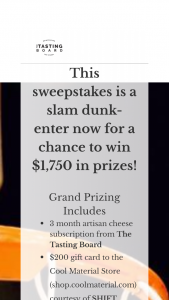 TASTING BOARD EXPERIENCE – SLAM DUNK Sweepstakes