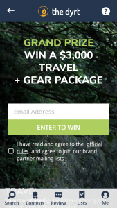 THE DYRT – SPRING TRIP – Win one Trip from MountainBased and gear from other brand partners (ARV $5000).
