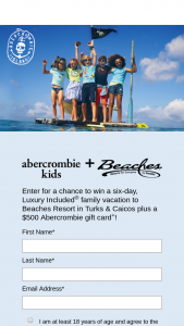 Abercrombie & Fitch – Island – Win (a) one (1) five hundred dollar ($100.00) Abercrombie gift card