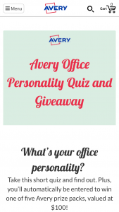 Avery – Office Personality Quiz Giveaway Sweepstakes