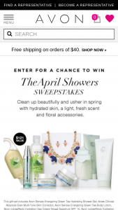 Avon April Showers Sweepstakes – Win An Avon Nutraeffectss Prize Package