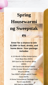 Bean Box – Spring Housewarming – Win value of $2000) Win food drinks and home decor from your favorite brands