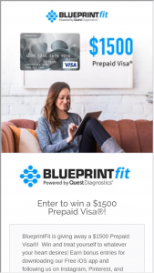 BlueprintFit $1,500 Sweepstakes – Win A$1,500 VISA Digital Gift Card