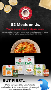 Carlas Pasta Sweepstakes – Win A Year Supply Of Carlas Pasta Products