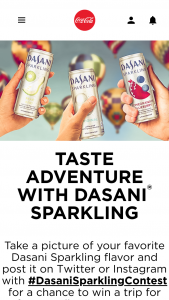 "Coca-Cola – Dasani Sparkling – Win for winner and 3 guests to Albuquerque NM for the Albuquerque International Hot Air Balloon Festival scheduled for October 6 – 14 2018 but subject to change (the ""Festival"")."