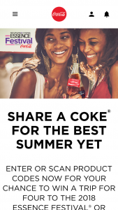 Coca-Cola – Essence Festival Summer – Win GRAND PRIZE A trip for winner and 3 guests to the Essence Festival in New Orleans LA scheduled for July 5 – 8 2018.
