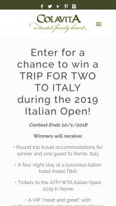 Colavita – Win A Trip To Rome – Win a travel package for winner and one (1) guest to Rome Italy