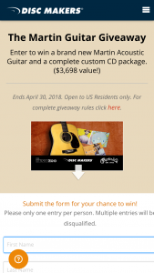 Disc Makers – Martin Guitar Giveaway Sweepstakes