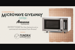 Enter – Win An Amana 1000 Watt Commercial Microwave Oven Be Sure To Enter Using Your Desktop Or Tablet, It Wont Work On Mobile Phones.