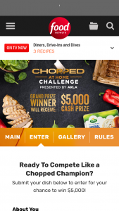 Food Network – Chopped At Home Challenge Presented By Arla Contest – Win win the following $5000 presented in the form of a check and a gift basket including Arla products and helpful kitchen items