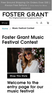 Foster Grant – Musical Festival – Win guest to attend the Coachella Valley Music and Arts Festival from April 20-22  2018.