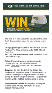 Green Bay Packers 2018 Draft Sweepstakes – Win A$500 Packers Pro Shop Gift Card And A 2018 Official Draft Cap