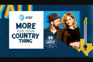 Iheart – Country Festival By AT&T More For Your Country Thing – Win will include the following A three day/two night trip for four people to Austin TX from May 4 – May 6 2018.