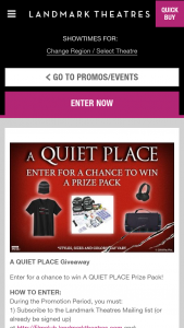 Landmark Theaters – A Quiet Place Giveaway – Win (1) Wireless Noise Canceling Headphones (est